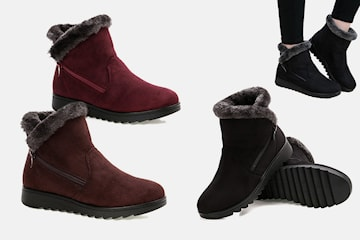 Fodrade boots i pälsimitation