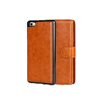 Brun, iPhone 6+/6s+, Removable Magnetic Case, Hand Crafted Leather, Plånboksfodral, ,
