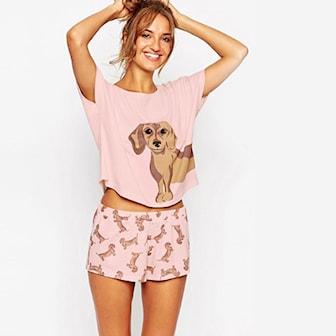 Rosa, M, Chihuahua Print Pajama Set, Pysj med hundemotiv, ,