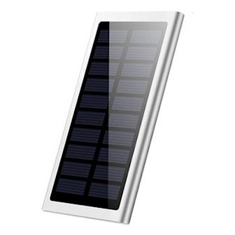Silver, DUAL USB SOLAR ULTRA THIN POWER BANK 10000MAH, Powerbank med solpanel, ,