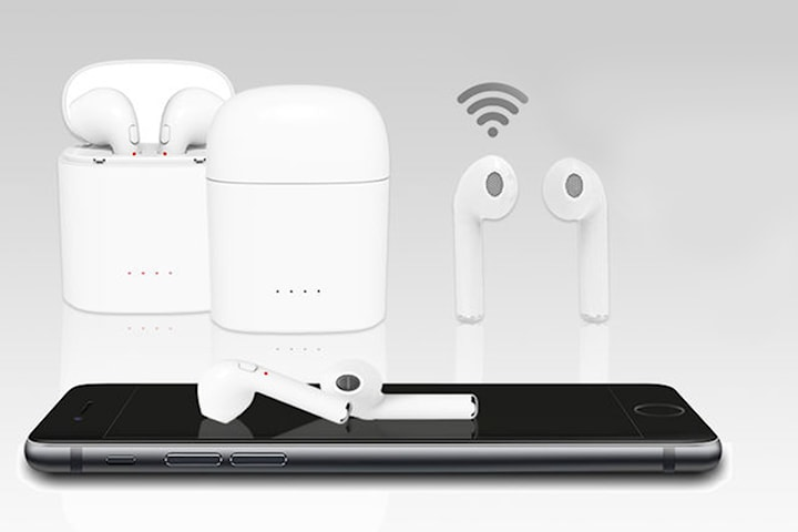 Apple-kompatible earbuds med ladeetui