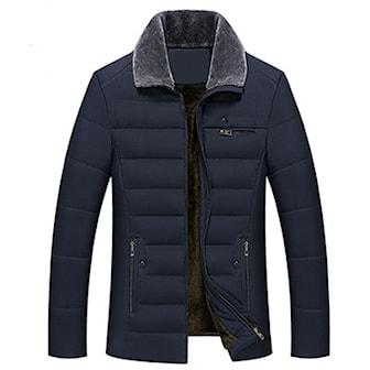 Marinblå, L, Men's Faux Fur Collar Quilted Jacket, Quiltad jacka i herrmodell,