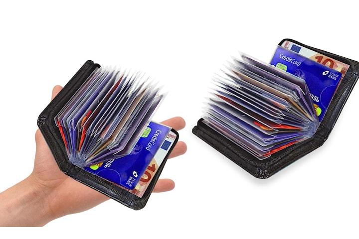 RFID-skyddad mjuk kompakt kreditkortplånbok för hela 36 kort
