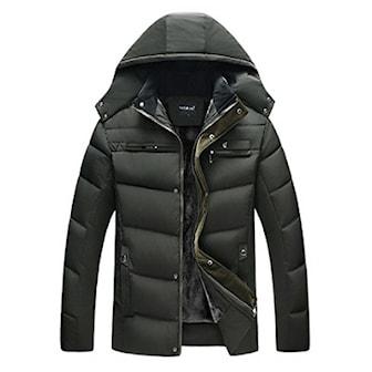 Grön, XXL, Men's Quilted Hooded Winter Jacket, Vadderad vinterjacka herr,