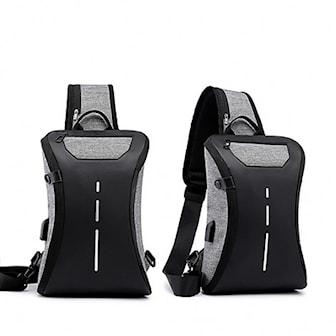Grå, USB Charging Multifunctional Chest Bag, Brystveske med ladeutgang,