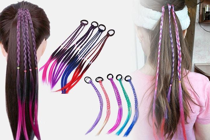 Flätade hårförlängningar i olika färger