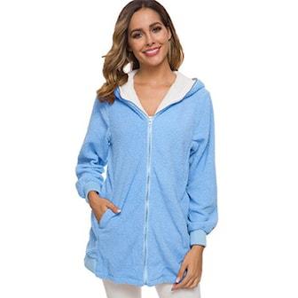 Ljusblå, XXL, Autumn faux fur zipper coat, Hoodie i teddymaterial,