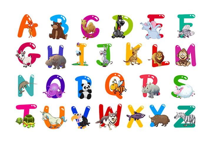 Färgglada väggstickers alfabetet