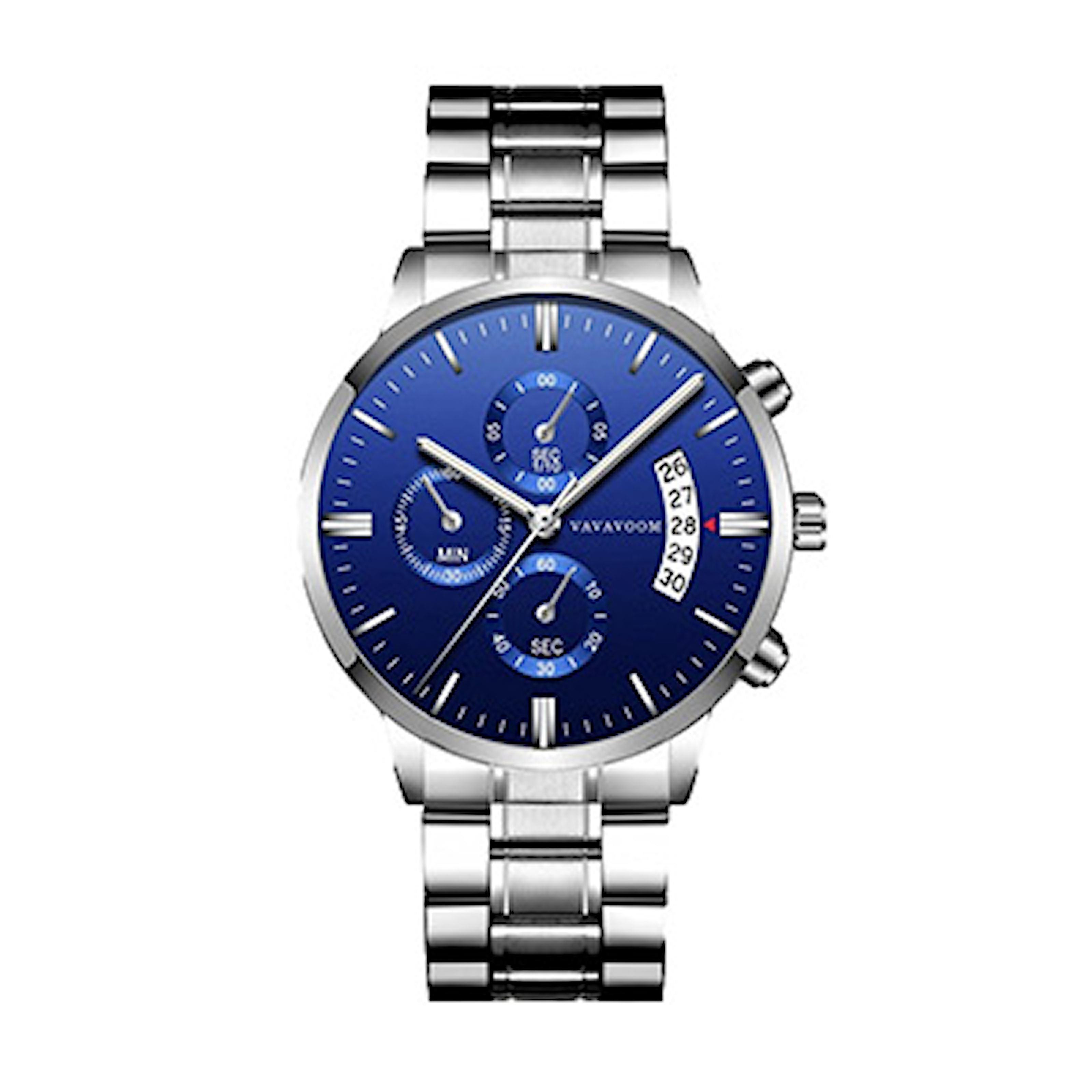 Sølv/Blå, Quartz Watch Stinless Steel, Quartz klokke til herre, ,