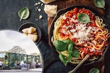 Nyt en deilig lunsj med valgfri pizza eller pasta hos Glasshuset midt i sentrum!