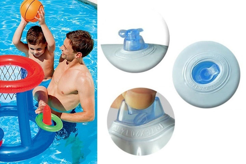Oppblåsbar basketkurv og ringspill til bassenget