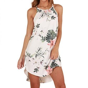Vit, XL, Chiffon women dress, Klänning i chiffong, ,