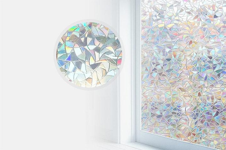 Fönsterfilm med dekorativa prismor