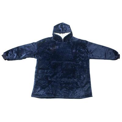 Marineblå, Oversized Blanket Hoodie, Teppe med hette og lommer,  (1 av 1)