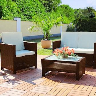 Brun, Rattan Lounge Set Miami, Klassiskt loungeset inkl. kuddar, ,