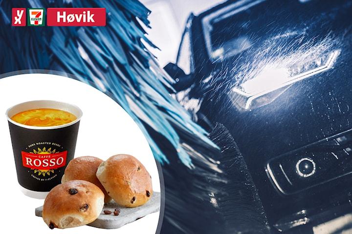 Bilvask hos YX 7-Eleven Høvik, inkl. tre boller og kaffe