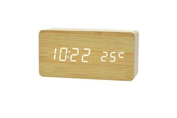 Digital LED Väckarklocka i Trädesign - Trä / Vit