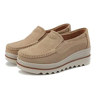 Beige, 40, Suede Platform Shoes, Plattformskor i dammodell, ,