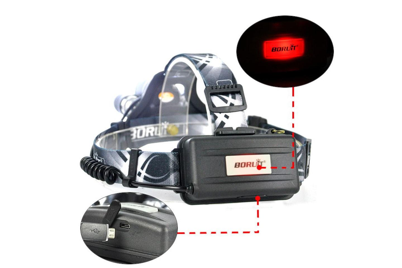 Kraftig hodelykt med tre stk. sterke LED-lamper