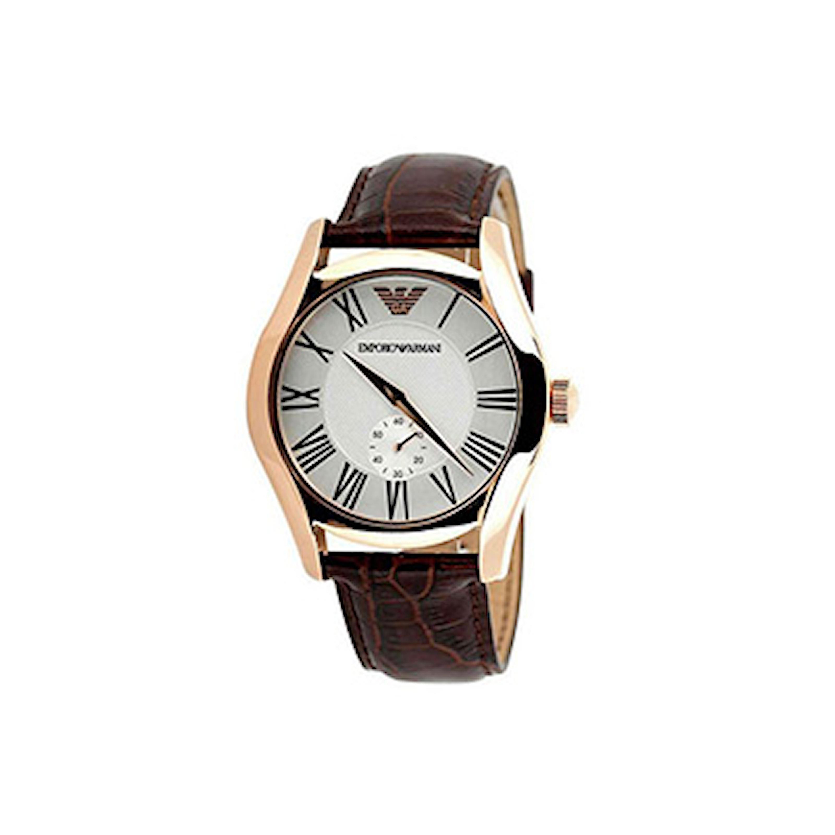 AR0677, AR0677, Armband: brun, läder. Urtavla: roséguld, rostfritt stål. Mått: 32 mm,