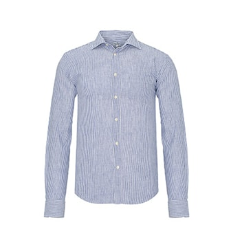 Marinblå, M, Jimmy Sanders Linen Shirts, Linneskjorta från Jimmy Sanders, ,