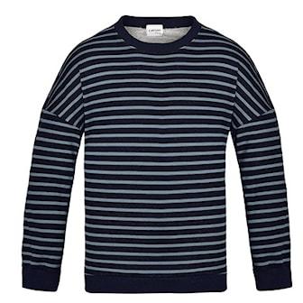 Svart/Blå, L, Men's Raglan Sleeve Striped Knitted Sweater, Randig herrtröja, ,