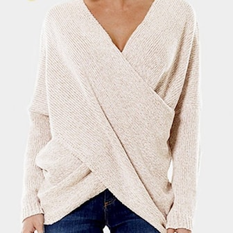 Beige, 3XL, Women Knit V-Neck Cross Over Jumper, Stickad tröja med V-ringning, ,
