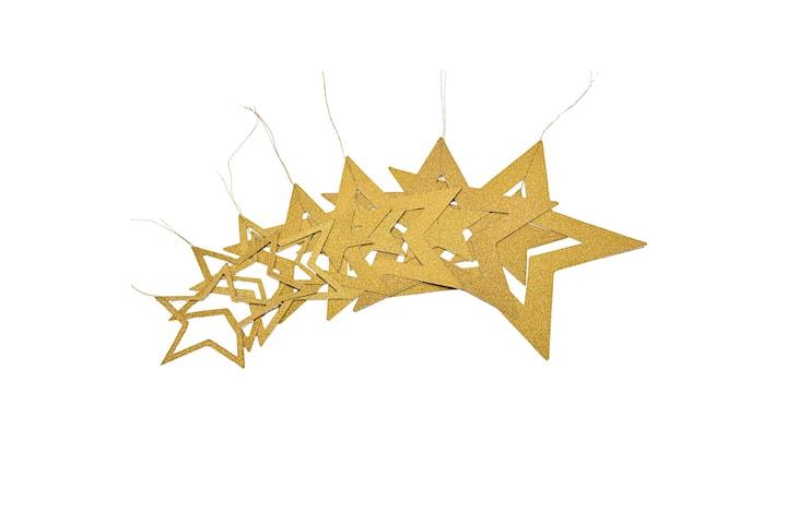 Juledekorasjon – Gullfargede stjerner i ulike størrelser