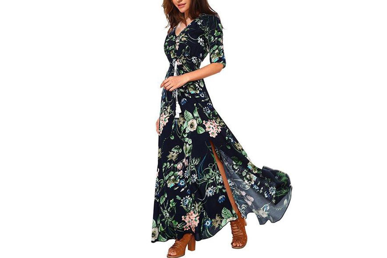 Blommig maxiklänning