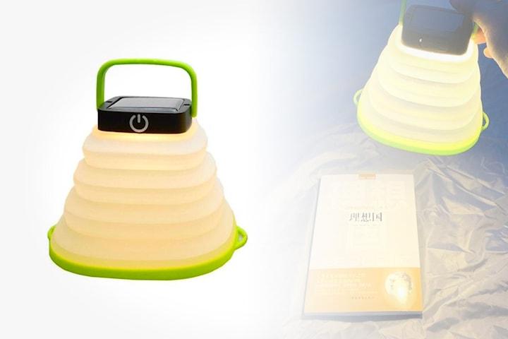 Soldrevet LED-lampe til camping