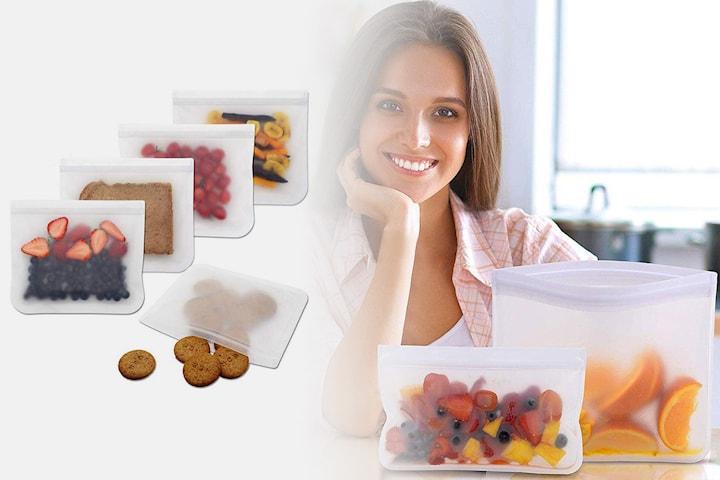 Återanvändbara matförvaringspåsar i silikon 4- eller 8-pack