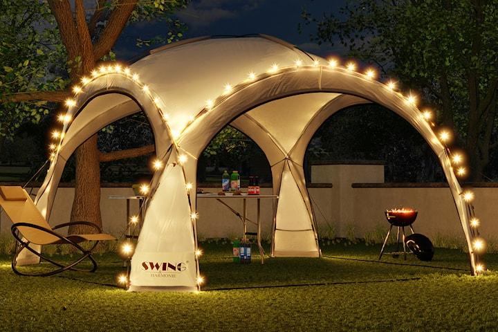 Swing & Harmonie partytält med LED-belysning