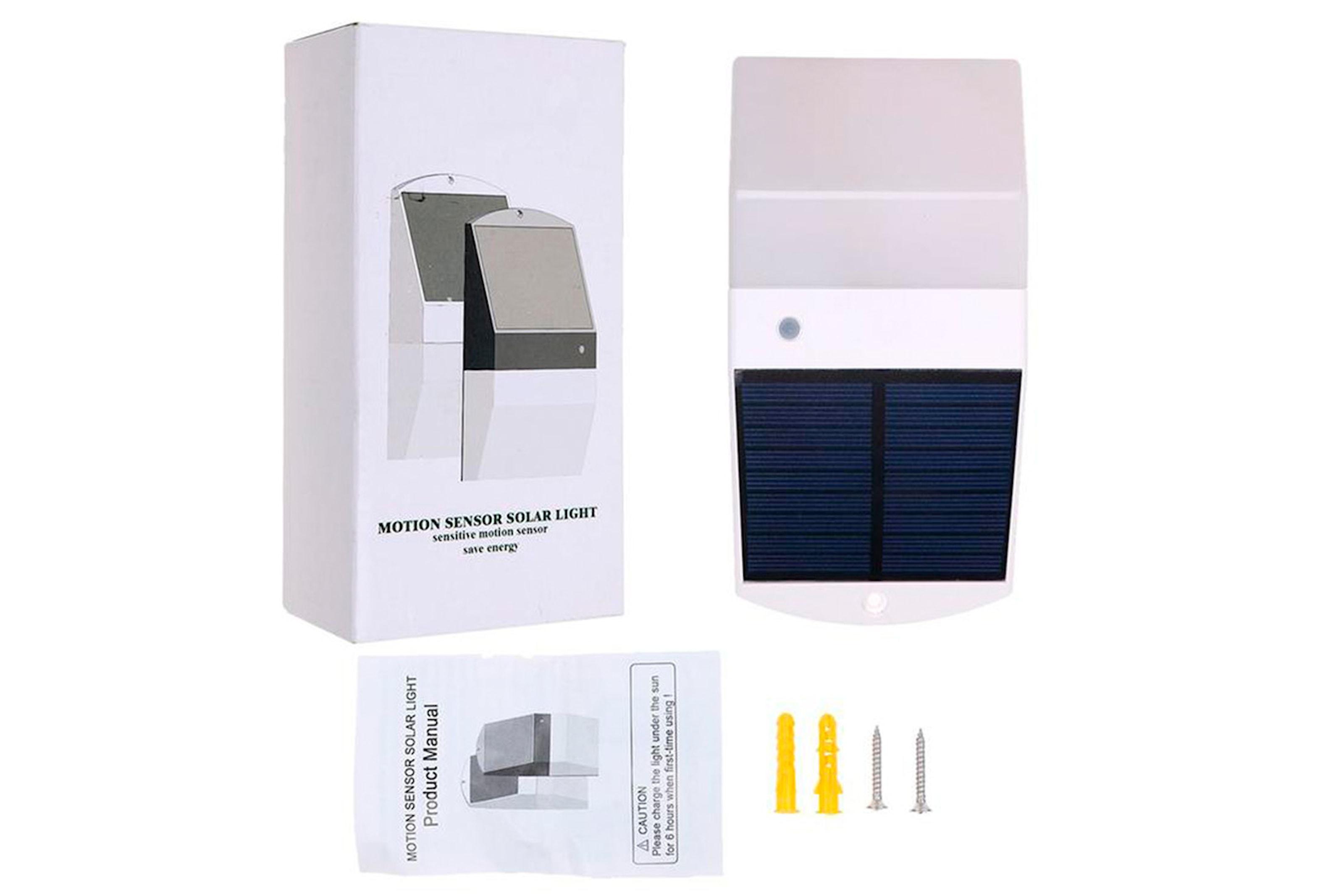 Utendørs solcellelampe med sensor og LED