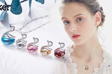 Silverhalsband med Swarovski-kristaller