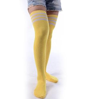 Gul, White Stripe, Long Stocking tights Socks, Varme knestrømper,