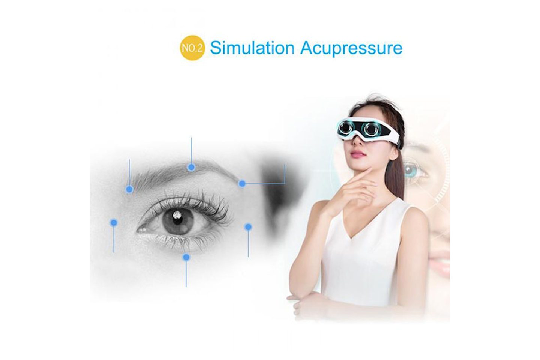 Briller med akupressur som masserer øynene