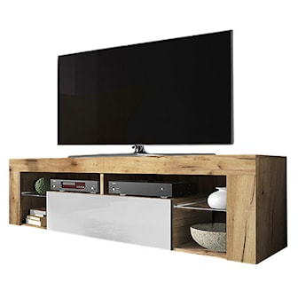 Vintage Oak/White Gloss, No LED, Hugo tv-bänk, ,