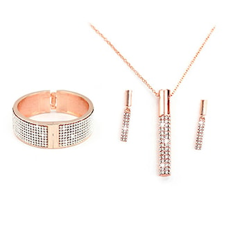 Roséguld, Bracelet, Necklace and Earrings set, Made With Swarovski Elements! , Vela smyckeset med Swarovski-kristaller, ,