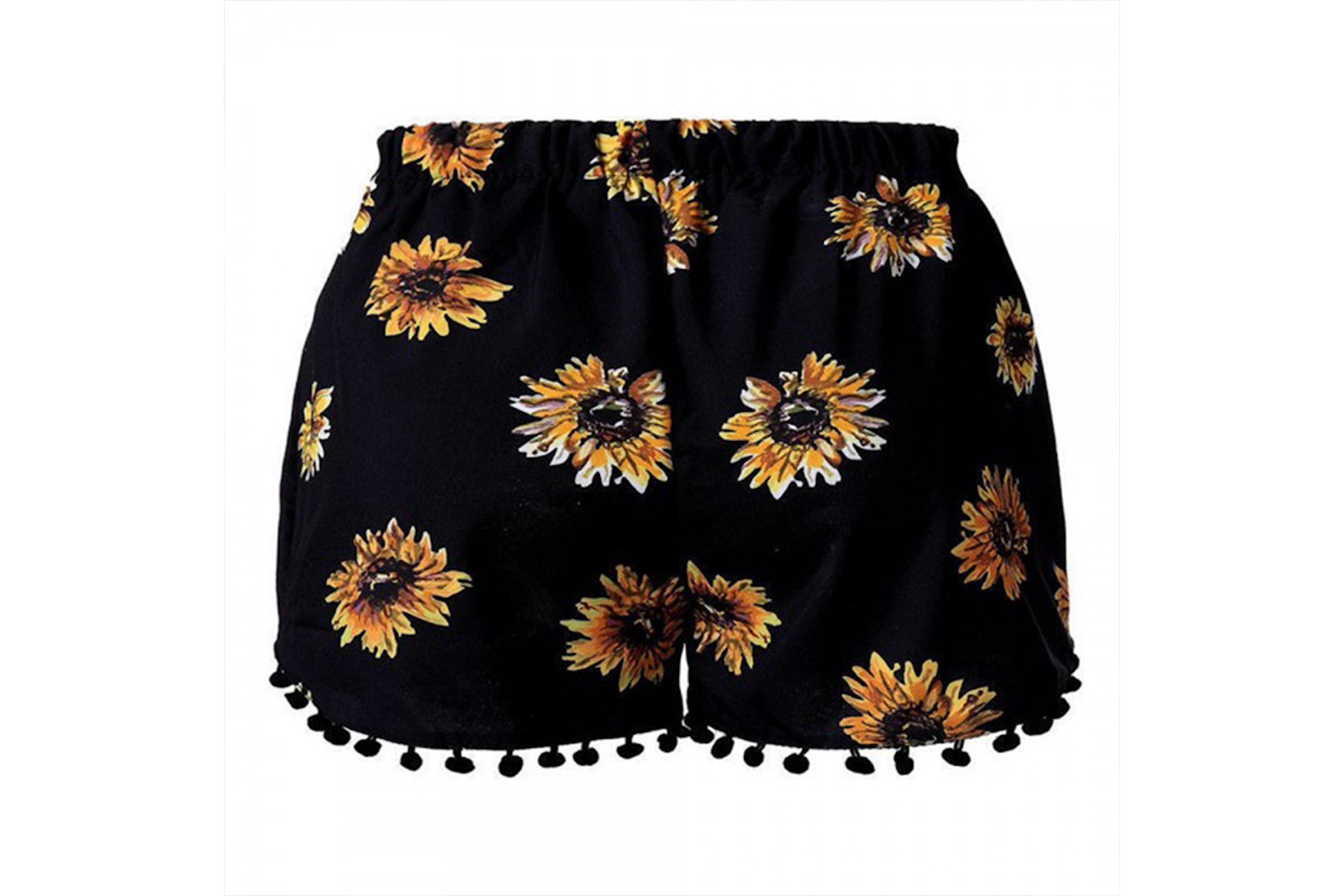 Shorts med solrosmönster