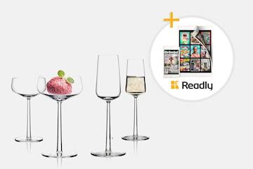 Iittala Essence dessert- & champagneglas 2-pack + Readly 1 mån