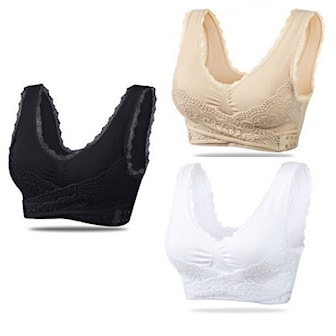 Svart/Vit/Beige, L, Bra Top With Lace, 3-Pcs, Bh i spets, 3-pack, ,