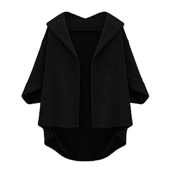 Svart, XL, Women Autumn Bat Sleeves Winter Coat, Jacka i dammodell, ,