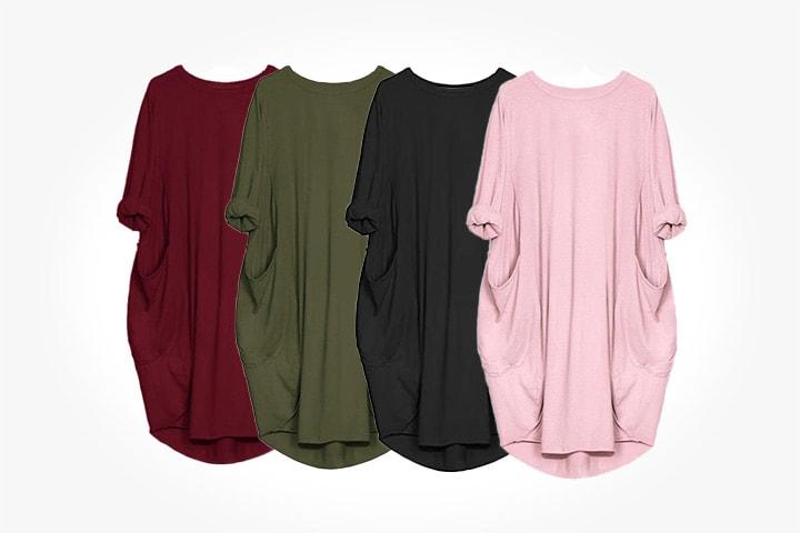 T-shirtklänning med fickor