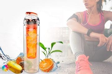 Vattenflaska med fruktkolv