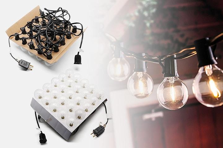 Lång ljusslinga med 25 glödlampor