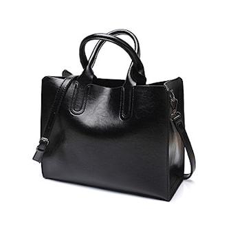 Svart, Hand Bag Fake Leather, Handväska i PU-läder, ,