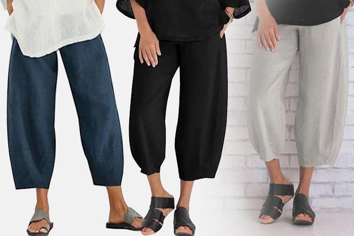 Elastiske vide bukser dame