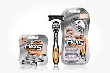 BIC® Flex 5 Hybrid rakhyvel + 6 stycken rakhuvuden