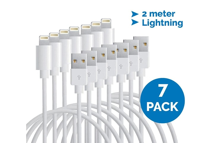 Lightning-kabel till iPhone & iPad, 2 meter, vit, 7-pack