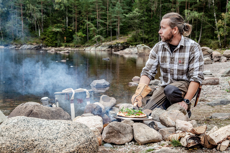 Orrefors Hunting grillvantar i äkta skinn